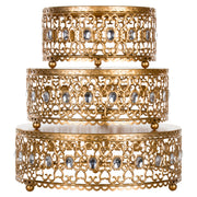 Gold 3-Piece Metal Cake Stand Risers Set with Crystal Rhinestones by Amalfi DecorGold 3-Piece Metal Cake Stand Risers Set with Crystal Rhinestones by Amalfi Decor