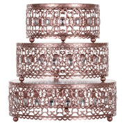 Amalfi Decor 3-Piece Metal Cake Stand Risers Set with Crystal Rhinestones (Rose Gold)