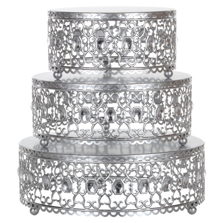 Silver 3-Piece Metal Cake Stand Risers Set with Crystal Rhinestones by Amalfi Decor