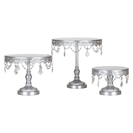 3-Piece Silver Crystal Cake Stand Set | Amalfi Decor