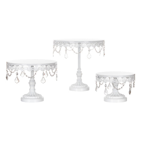 Amalfi Decor White 3-Piece Crystal Cake Stand Set