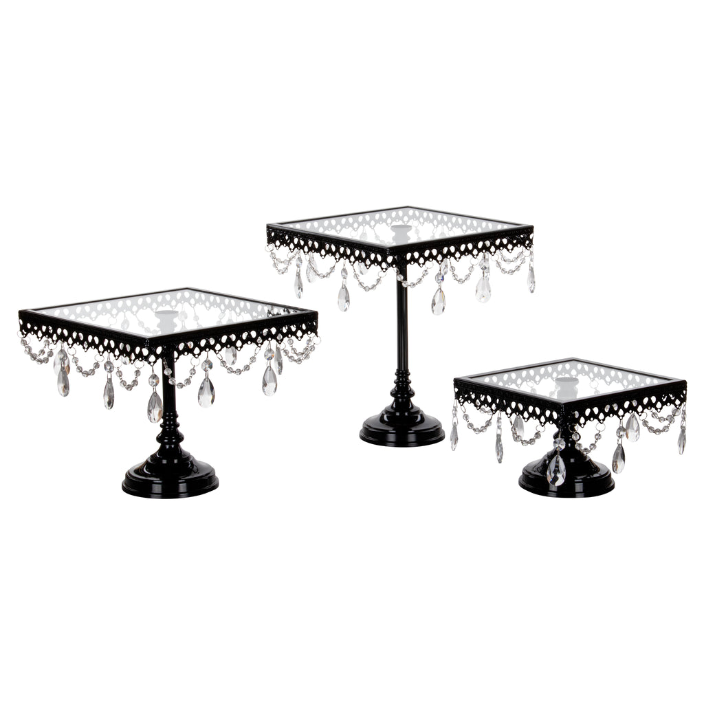 3-Piece Square Glass-Top Crystal Cake Stand Set (Black)