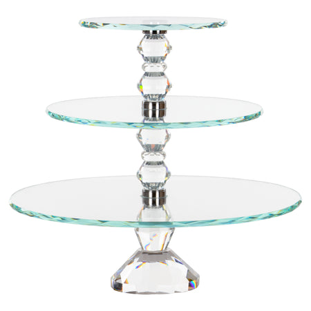 Amalfi Decor 3-Tier Solid Crystal Cupcake Stand