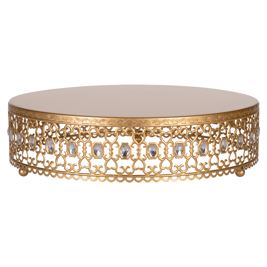 Amalfi Decor 14 Inch Metal Wedding Cake Stand Riser with Crystal Rhinestones (Gold)