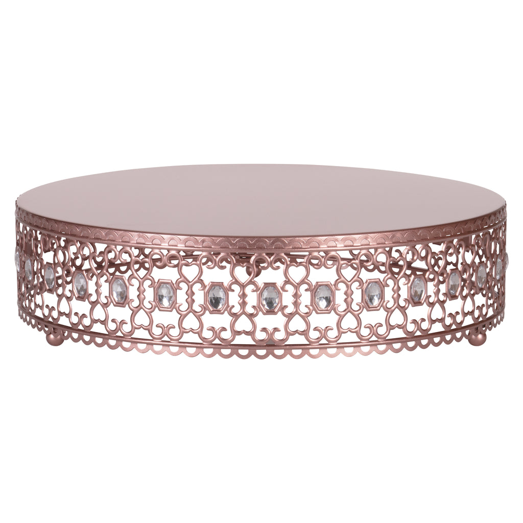Amalfi Decor 14 Inch Metal Wedding Cake Stand Riser with Crystal Rhinestones (Rose Gold)