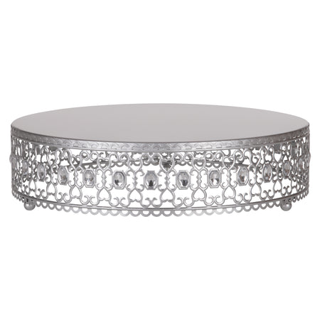 Amalfi Decor 16 Inch Metal Wedding Cake Stand Riser with Crystal Rhinestones (Silver)