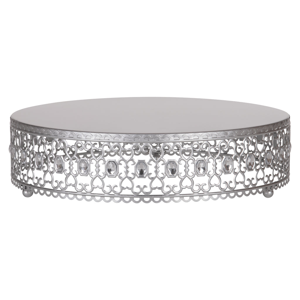 Amalfi Decor 14 Inch Metal Wedding Cake Stand Riser with Crystal Rhinestones (Silver))