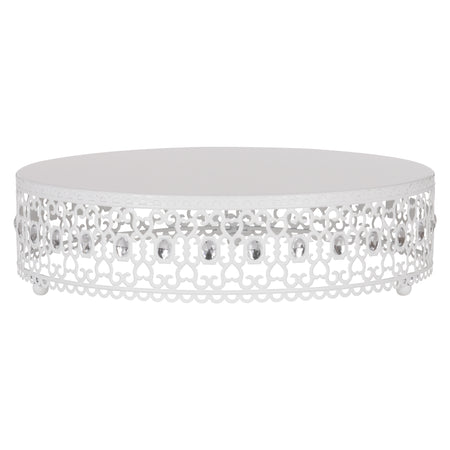 Amalfi Decor 14 Inch Metal Wedding Cake Stand Riser with Crystal Rhinestones (White)