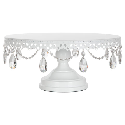 Amalfi Decor White 16 Inch Crystal-Draped Metal Wedding Cake Stand