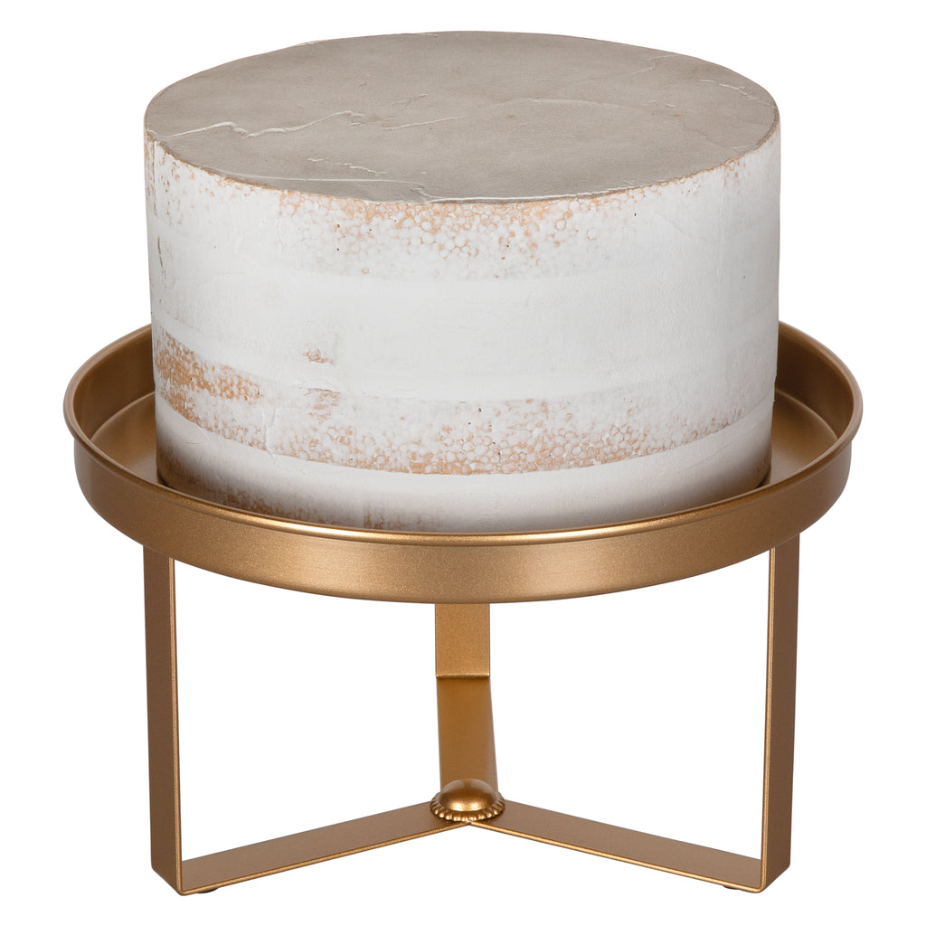 Amalfi Decor 10 Inch Gold Modern Cake Stand with 3 Geometric Legs