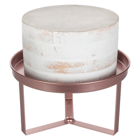 Amalfi Decor 10 Inch Rose Gold Modern Cake Stand with 3 Geometric Legs