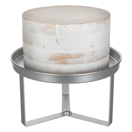 Amalfi Decor 10 Inch Silver Modern Cake Stand with 3 Geometric Legs