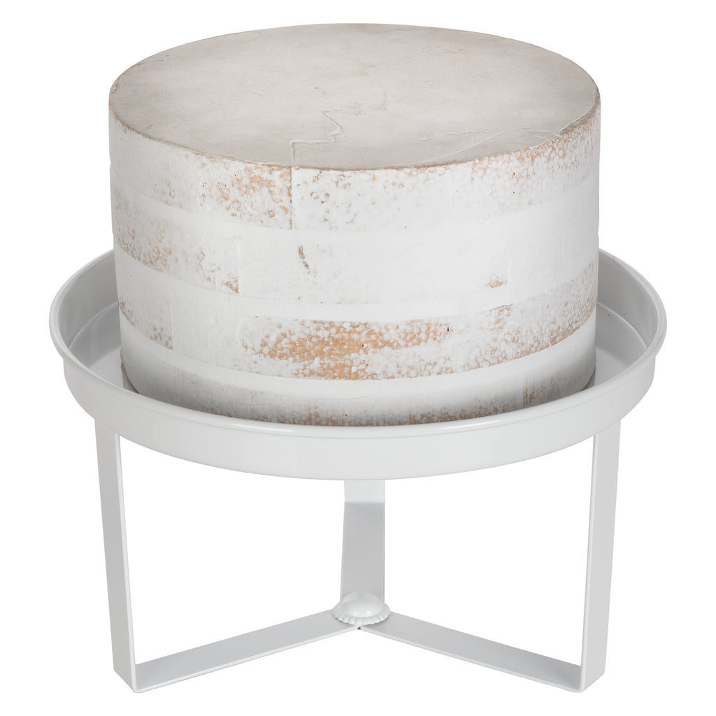 Amalfi Decor 10 Inch White Modern Cake Stand with 3 Geometric Legs