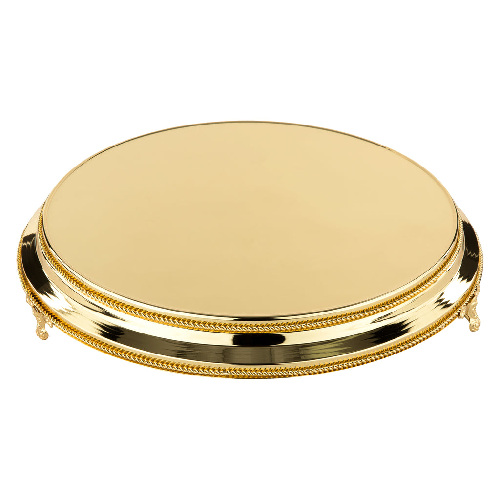 18 Inch Round Shiny Metallic Wedding Cake Stand Plateau (Gold Plated)