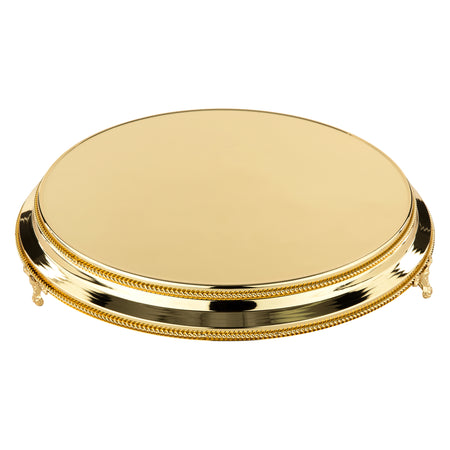 16 Inch Round Shiny Metallic Wedding Cake Stand Plateau (Gold Plated)