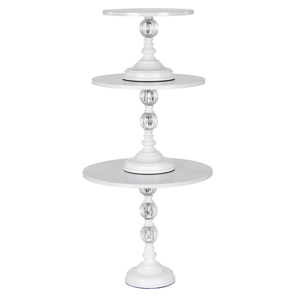 3-Piece Modern Metal Cake Stand Set (White)