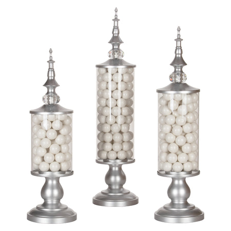 Amalfi Decor Silver 3-Piece Metal Candy Jar Set