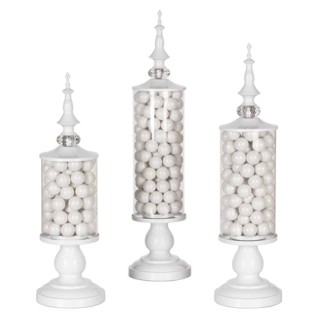 Amalfi Decor White 3-Piece Metal Candy Jar Set