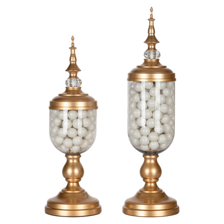 Amalfi Decor 2-Piece Metal Gold Candy Jar Set