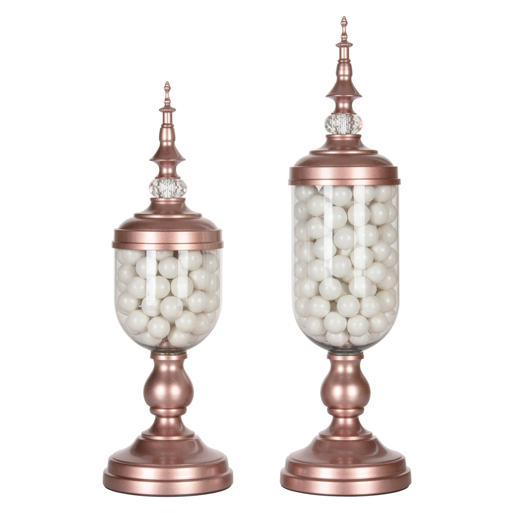 Amalfi Decor 2-Piece Metal Rose Gold Candy Jar Set