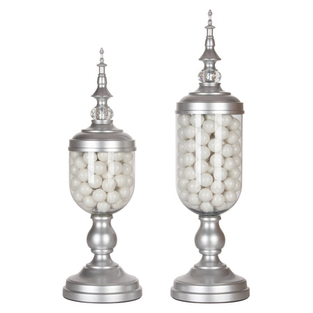Amalfi Decor 2-Piece Metal Silver Candy Jar Set
