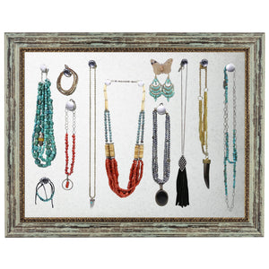 Rustic Magnetic Jewelry Display Organizer Board (Antique Green)