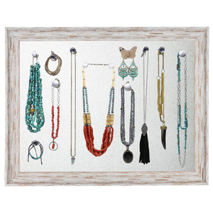 Rustic Magnetic Jewelry Display Organizer Board (Whitewashed)