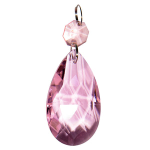 Authentic Glass Chandelier Crystals Pink | 2 inch (50mm) Teardrop | Set of 25