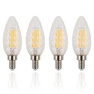 E12 Candelabra Base Dimmable 4W LED Decorative Light Bulb (Set of 4)