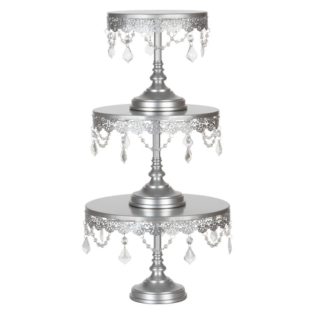 3-Piece Crystal-Draped LED Light Cake Stand Set (Silver) Amalfi Decor