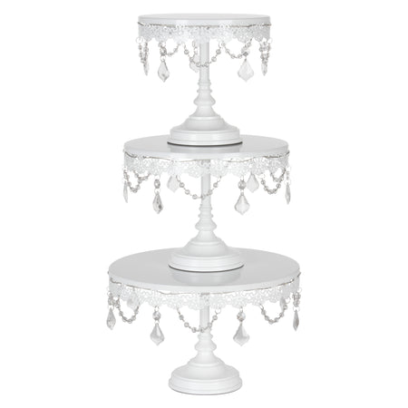 3-Piece Crystal-Draped LED Light Cake Stand Set (White) Amalfi Decor