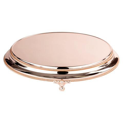 18 Inch Round Shiny Metallic Wedding Cake Stand Plateau (Rose Gold Plated)