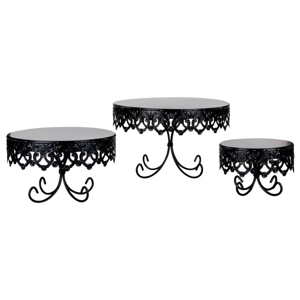 3-Piece Royal Crown Cake Stand Set (Black)