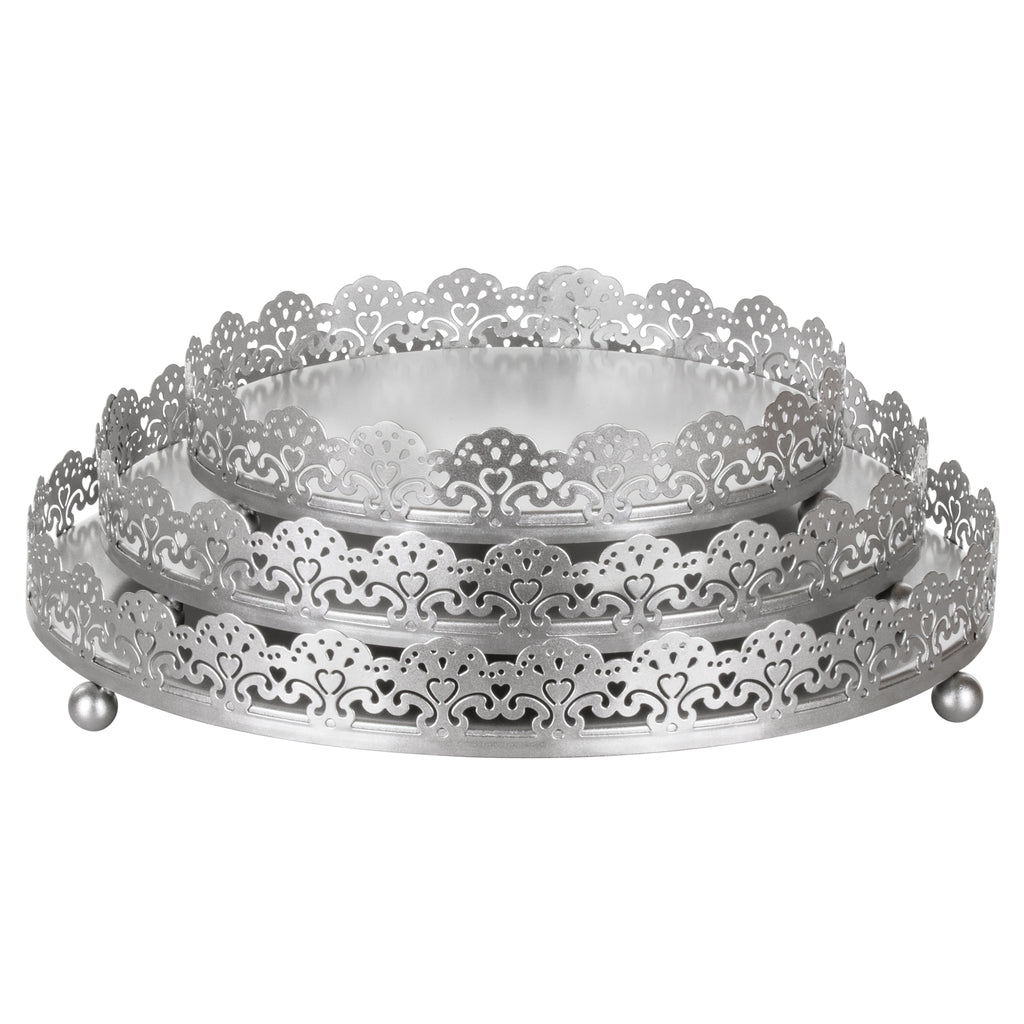 3 Piece Silver Round Metal Decorative Serving Tray Set by Amalfi Decor