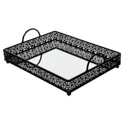 Amalfi Decor Large Black Rectangular Metal Mirror-Top Serving Tray