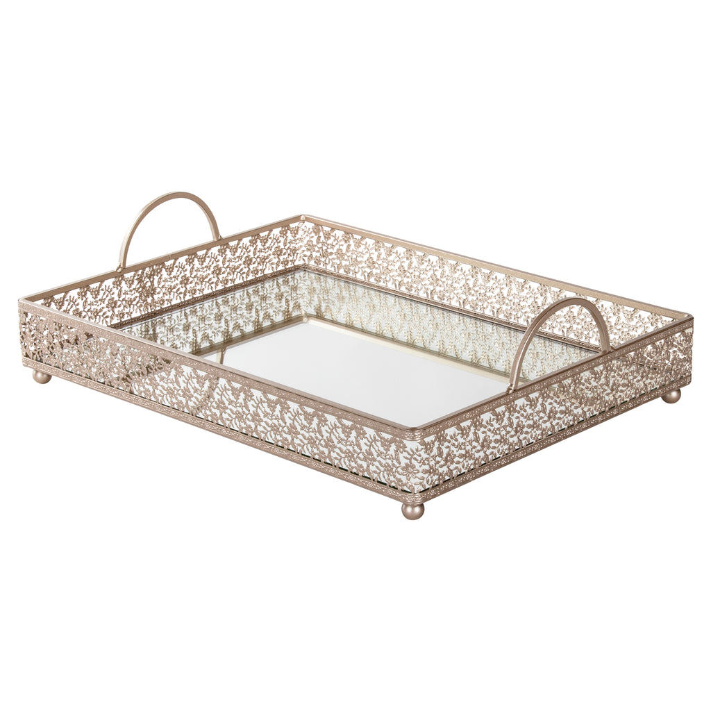 Giovanni Champagne mirror top serving tray with handles by Amalfi Decor