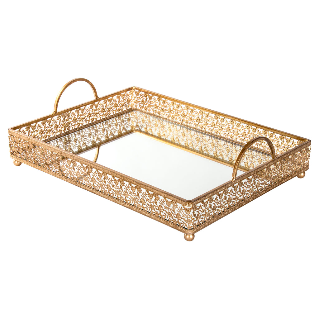 Large Gold Rectangular Mirror Top Serving Tray Amalfi Decor