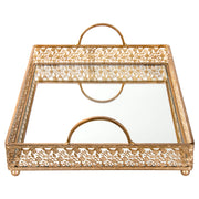 Giovanni Antique Gold mirror top serving tray with handles by Amalfi Decor