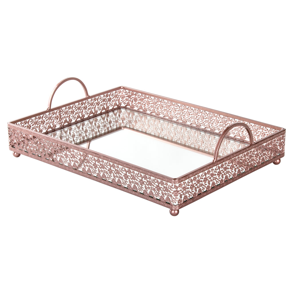 Giovanni Rose gold mirror top serving tray with handles by Amalfi Decor
