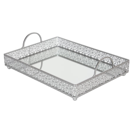 Giovanni Antique Silver mirror top serving tray with handles by Amalfi Decor