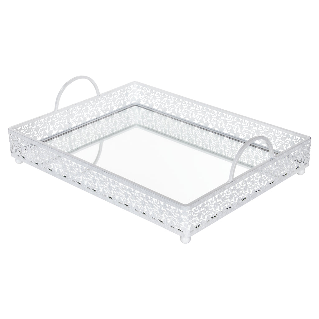 Amalfi Decor Large White Rectangular Metal Mirror-Top Serving Tray