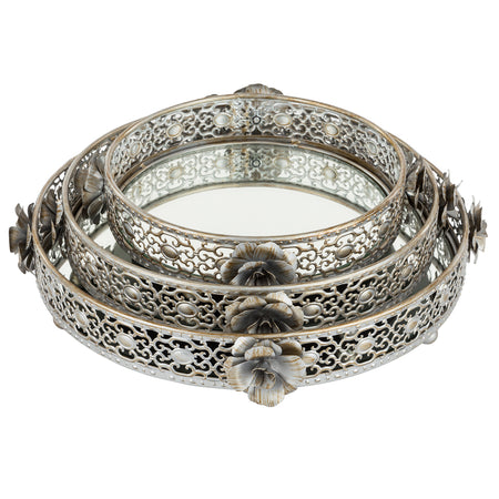 3-Piece Round Floral Silver Mirror Top Decorative Serving Tray Set by Amalfi Decor