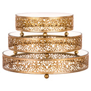 3-Piece Gold Round Mirror-Top Decorative Tray Dessert Stand Set by Amalfi Decor