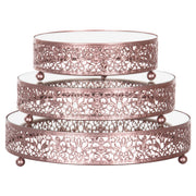 Amalfi Decor Rose Gold 3-Piece Round Mirror-Top Decorative Tray Dessert Stand Set