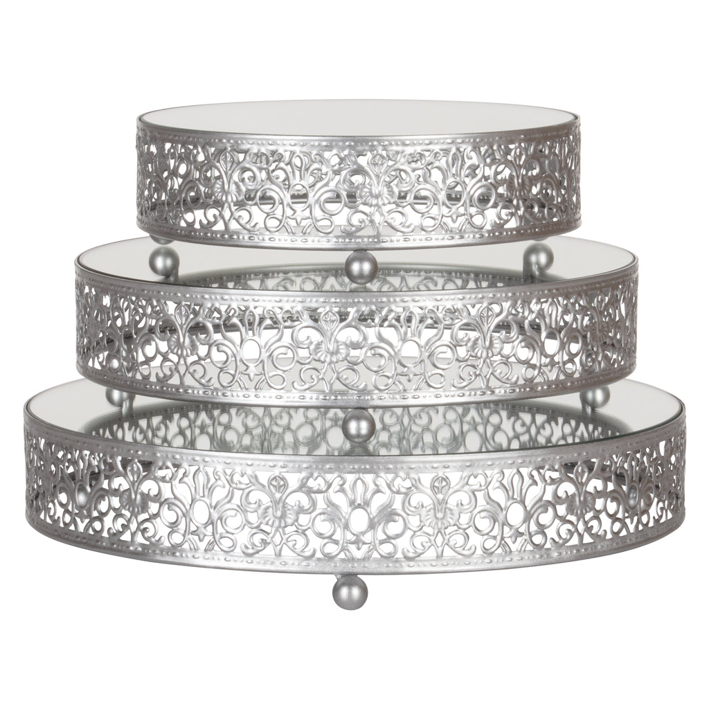 3-Piece Silver Round Mirror-Top Decorative Tray Dessert Stand Set by Amalfi Decor