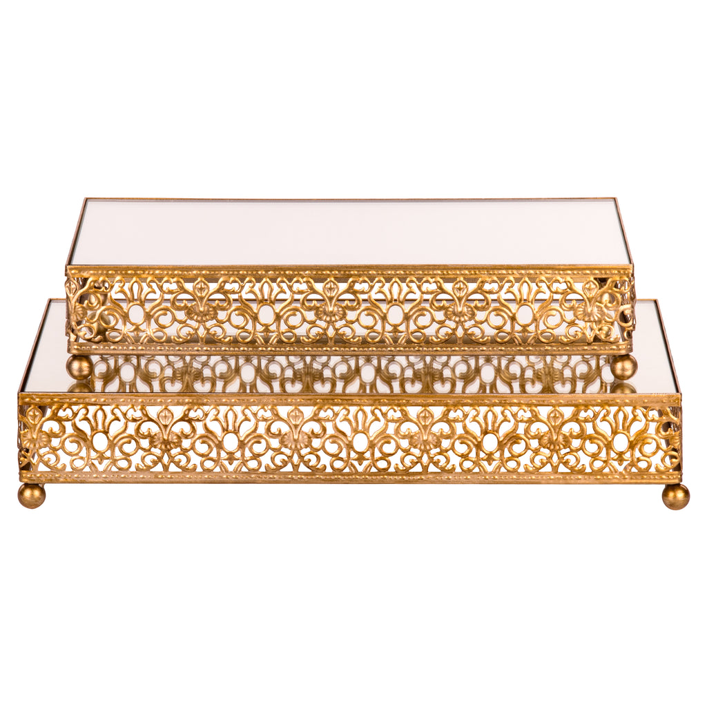 2-Piece Gold Rectangular Mirror-Top Decorative Tray Dessert Stand Set by Amalfi Decor