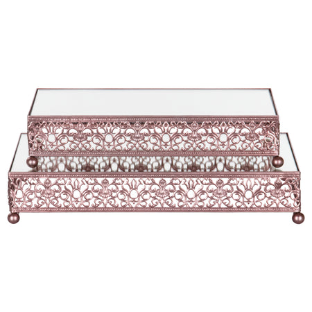 Amalfi Decor Rose Gold 2-Piece Rectangular Mirror-Top Decorative Tray Dessert Stand Set