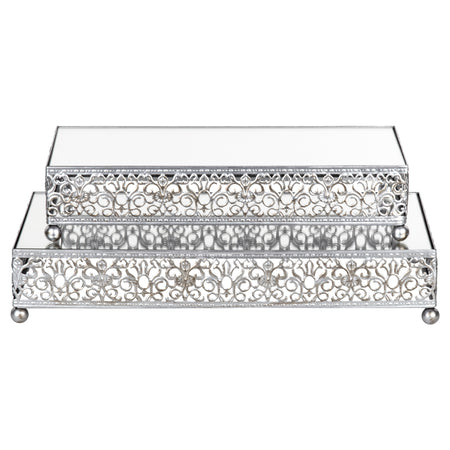 2-Piece Silver Rectangular Mirror-Top Decorative Tray Dessert Stand Set by Amalfi Decor