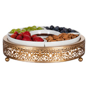 Gold Round Serving Tray with Ceramic Dishes | Amalfi Decor