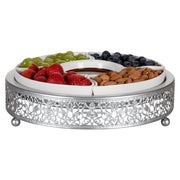 Antique Silver Round Serving Tray with Ceramic Dishes | Amalfi Decor